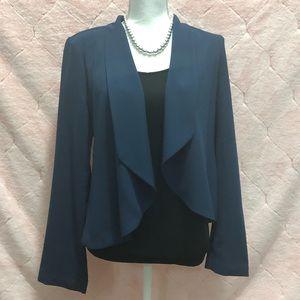 Draped front chiffon blazer jacket, Size Medium